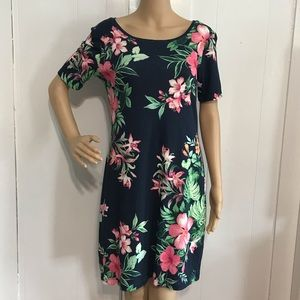 Tommy Bahama Blue Tropical Flower Cotton Dress S